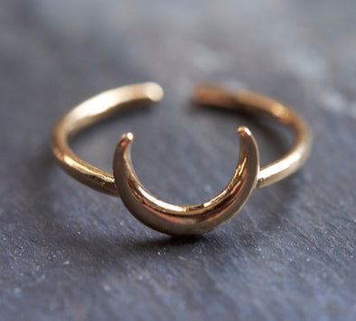Dainty gold moon ring
