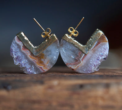 Amethyst and agate statement earrings