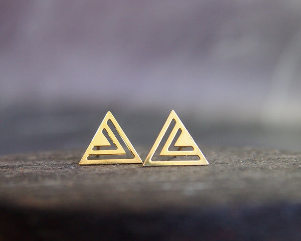 Shiny gold geometric triangle stud earrings