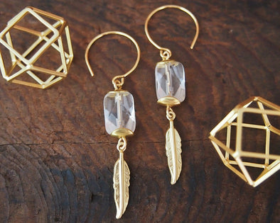 Quartz crystal and brass earrings