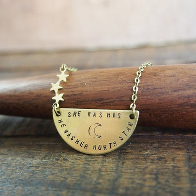 Hand stamped moon and star necklace