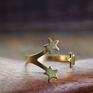 Sweet Brass 3 Star Celestial Ring