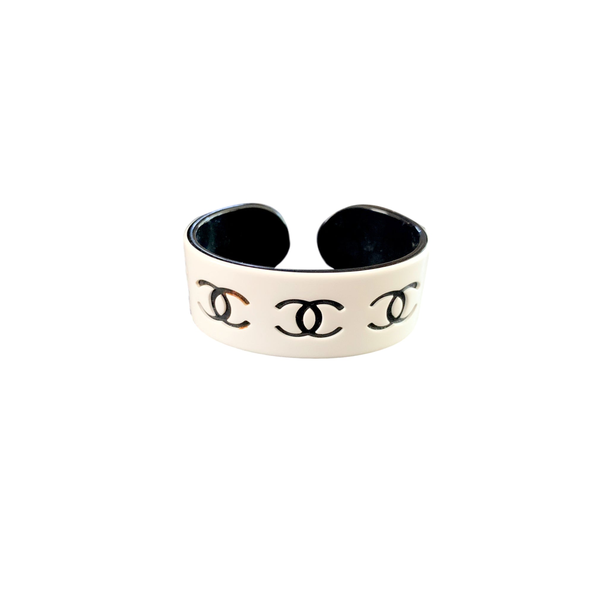 Chanel White Logo Resin Bangle