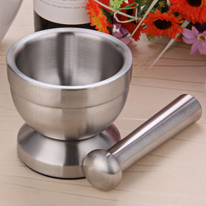 Double Stainless Steel Mortar and Pestle Pedestal Garlic Press Pot