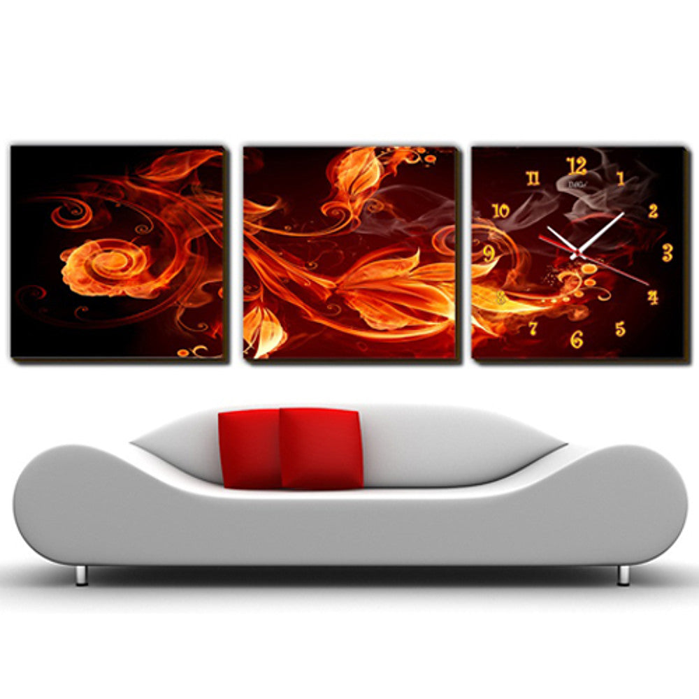 Modern Style Floral Scenic Canvas Wall Clock -3Pcs