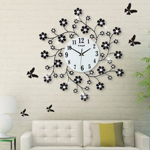 Pastoral Flower Iron Rhinestone  Decorative Wall Clock