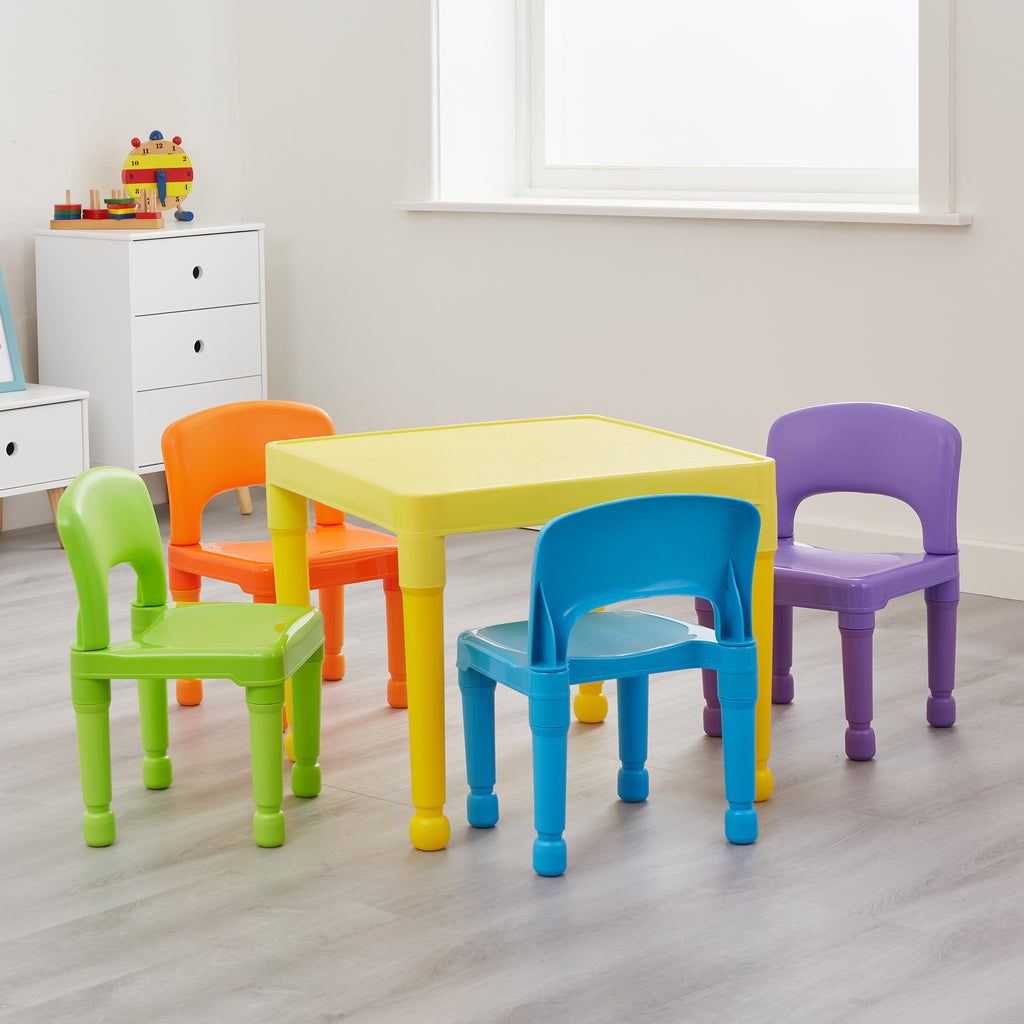 Children's Multi-Coloured Table and 4 Chairs Set
