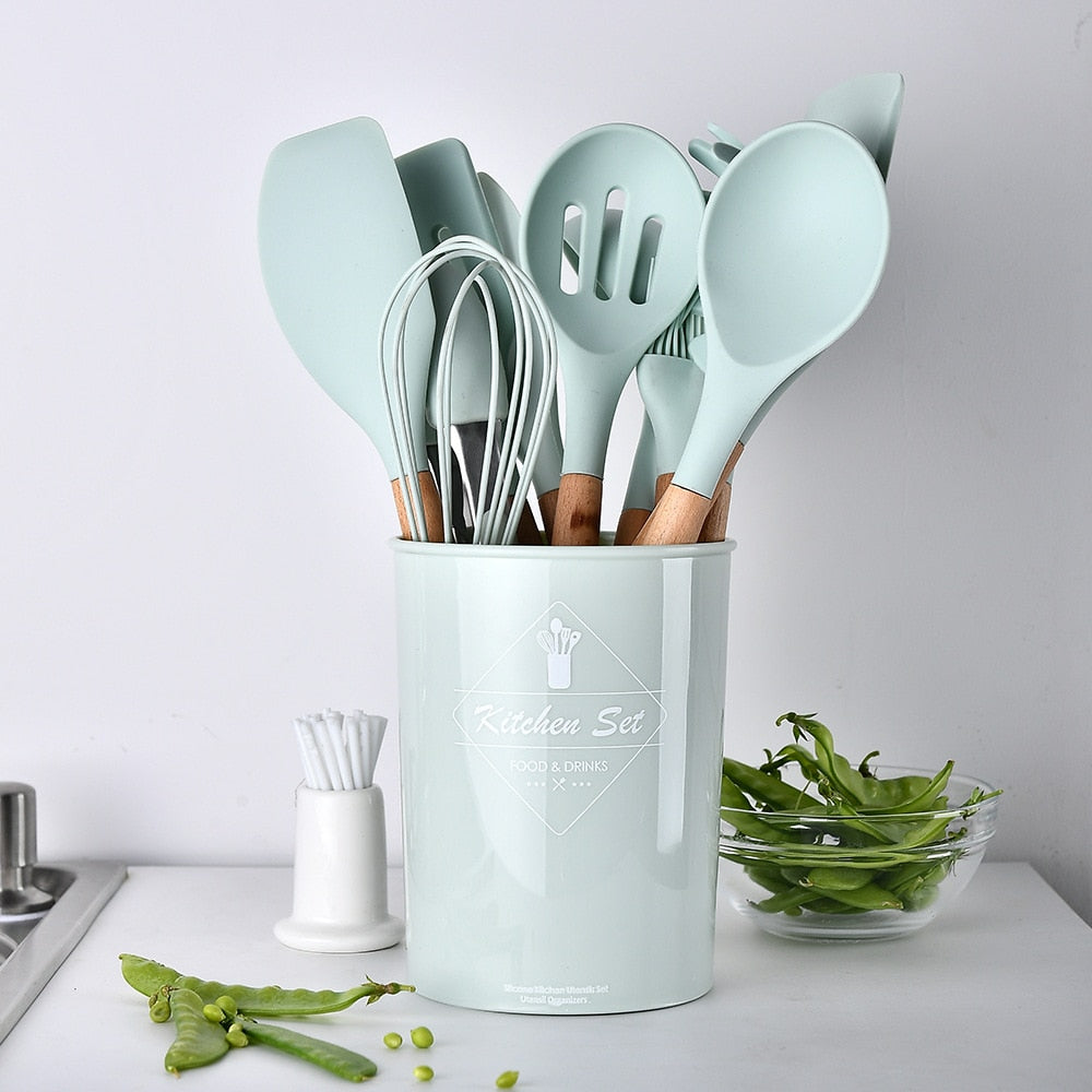 Premium Silicone Kitchen Cooking Utensils Set With Storage Container