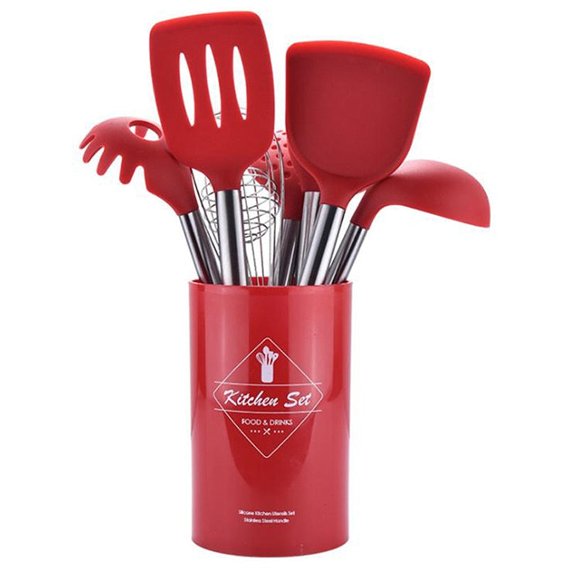 Stainless Steel Silicone Kitchen Cooking Utensil Set with Storage Bucket- 9Pcs