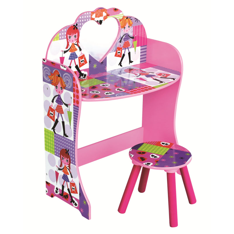 Fashion Girl Dressing Table & Stool Set - Scarlet Bloom