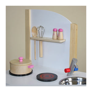 """Little Chef"" Contemporary Wooden Toy Kitchen with accessories - Scarlet Bloom"