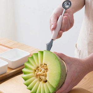Dual Double-End Ice Cream Scoop with Portable Carving Tool