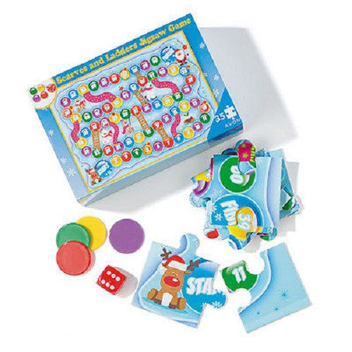 Kids Scarves and Ladders Winter Jigsaw Game-Age 3+ - Scarlet Bloom