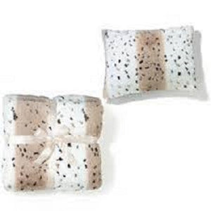 Snow Leopard Print Faux Fur Throw with Beige Fleece Back - Scarlet Bloom