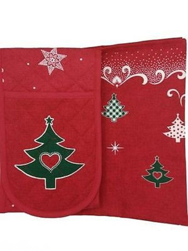 Tea Towel and Double Oven Glove Set - Scarlet Bloom