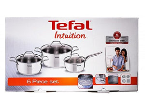 Tefal Intuition 6 Pieces Saucepan and Stew Pots with Glass Lids