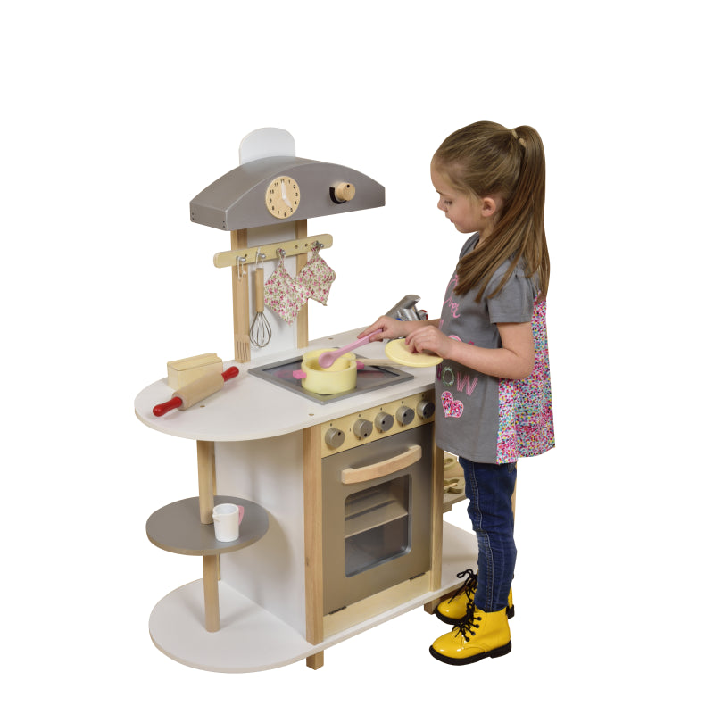 Wooden Toy Kitchen with Breakfast Bar and accessories - Scarlet Bloom