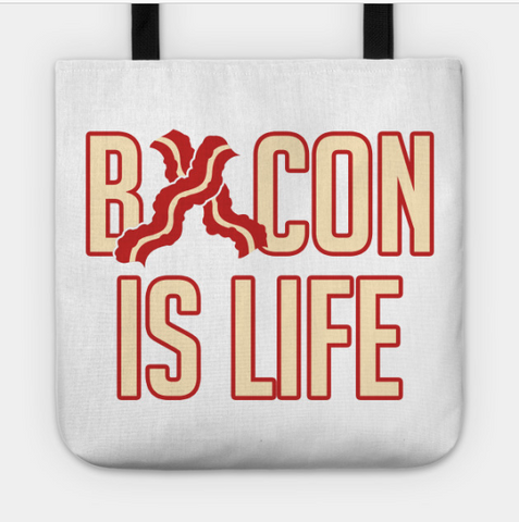 Bacon Is Life Stripes Breakfast Brunch Lover Tote Bag - lkrseller, Tote Bag ,