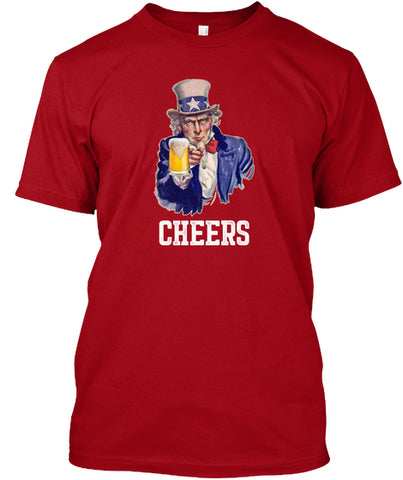 Cheers America USA Drinking Beer T-Shirt - lkrseller, Men's Shirts ,