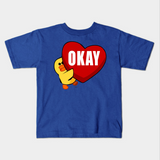 Cute Chick Hugging Heart Love Okay Kids Youth T-Shirt - lkrseller, Kids T-Shirt ,