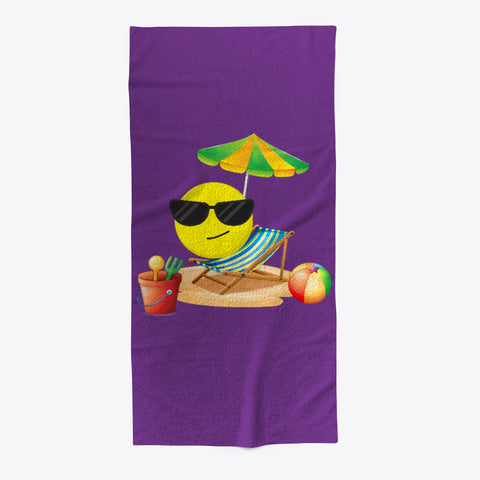 Cute Emoji Sun Fun Beach Towel - lkrseller, Towel ,