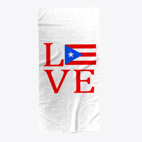 Love Heart Puerto Rico Flag Beach Towel - lkrseller shirts Towel, t-shirts, hoodies, tank tops, custom