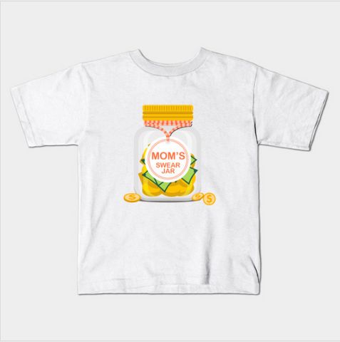Mom's Swear Jar Funny Curse Kids Youth T-Shirt - lkrseller, Kids T-Shirt ,
