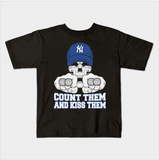 NY Baseball Count Them Kiss Them World Series Rings Kids Juvenile T-Shirt (Ages 4-7)