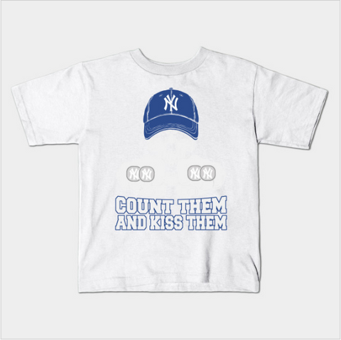NY Baseball Count Them Kiss Them World Series Rings Kids Juvenile T-Shirt (Ages 4-7) - lkrseller, Kids T-Shirt ,