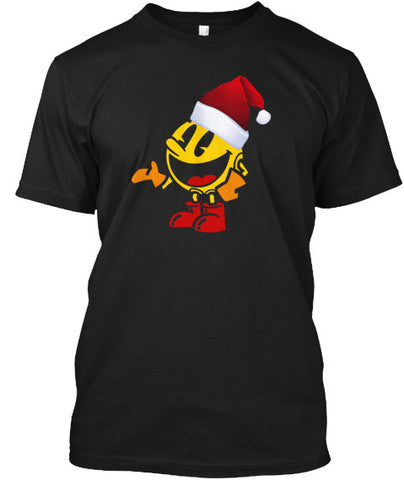 Pac Santa Hat Video Gamer Gamer Tee - lkrseller, Men's Shirts ,