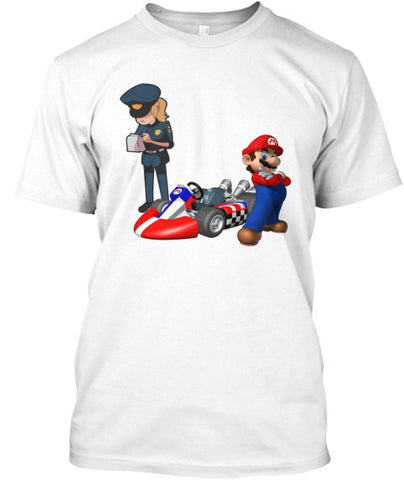 Racing Car Character Caught Cops T-Shirt. - lkrseller, Men's Shirts ,
