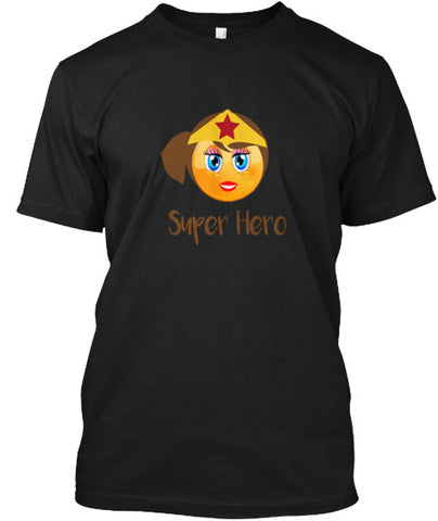 Super Hero Emoji Female Girl T-Shirt - lkrseller, Men's Shirts ,