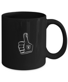 Oakland Foam Finger Thumbs Up Football Black and Silver Drinking Coffee Mug - lkrseller, Coffee Mug ,