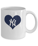 New York Baseball Navy Blue Heart Love Coffee Mug - lkrseller, Coffee Mug ,