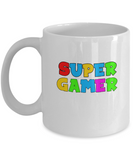 Super Gamer Cool Colors For Video Game Players Coffee Mug - lkrseller, Mugs ,