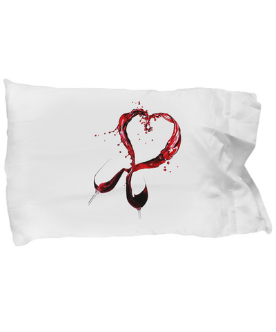 Wine Glasses Heart Lover Red Bedding Pillow Case - lkrseller, Pillow Case ,