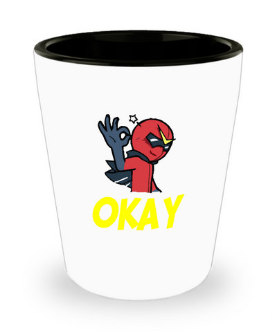 Super Hero Villain Okay Hand Sign Comics Shot Glass - lkrseller, Shot Glass ,