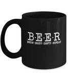 Beer Brew Enjoy Empty Repeat Drinking Funny Mug - lkrseller, Mugs ,