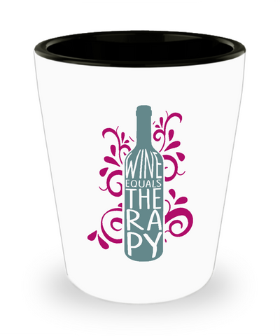 Wine Equals Therapy For Wine Lovers Drinking Shot Glass - lkrseller, Shot Glass ,