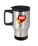 Cute Chick Hugging Heart Love Okay Travel Mug - lkrseller, Travel Mug ,