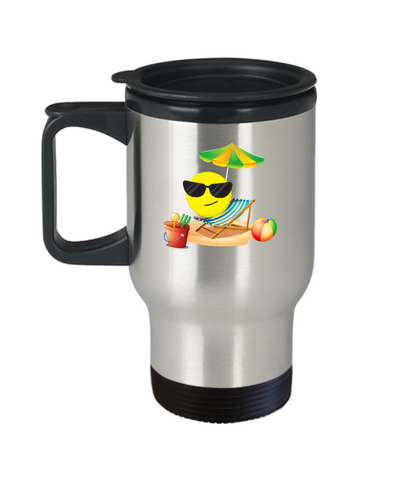 Sun Beach Emoji Shades Summer Time Fun Travel Mug - lkrseller, Travel Mug ,