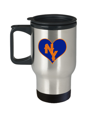 New York Baseball Colors Heart Love Travel Mug - lkrseller, Travel Mug ,
