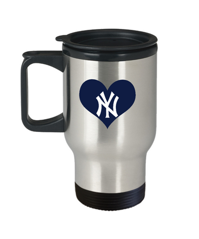 New York Baseball Navy Blue Heart Love Travel Mug - lkrseller, Travel Mug ,