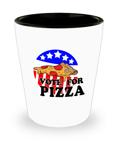 Vote For Pizza Funny Drinking Shot Glass - lkrseller shirts Shot Glass, t-shirts, hoodies, tank tops, custom