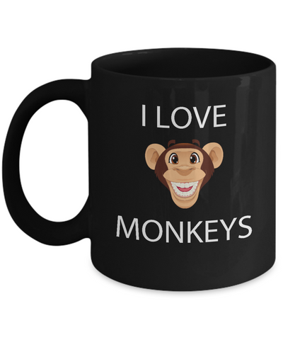 I Love Monkeys Cute Emoji Coffee Mug - lkrseller, Mugs ,