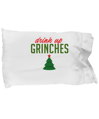 Drink Up Grinches Funny Christmas Pine Tree Bedding Pillow Case - lkrseller, Pillow Case ,