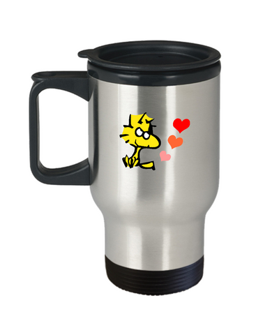 Cute Yellow Bird Woodstock Hearts Love Travel Mug - lkrseller, Travel Mug ,