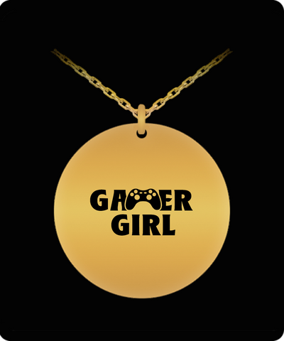 Gamer Girl Video Game Player Cool 18K Gold Plated Chain - lkrseller shirts Laser Engraved Necklace, t-shirts, hoodies, tank tops, custom