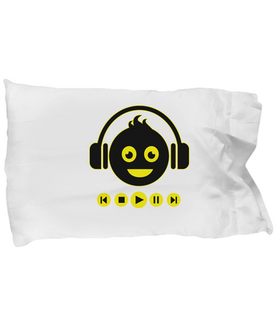 Music Lover Emoji Headphones Play Button Bedding Pillow Case - lkrseller, Pillow Case ,