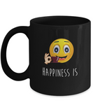 Happiness Is Emoji Drinking Coffee Mug - lkrseller, Mugs ,